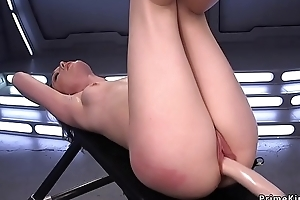 Solo babe rides Sybian with an increment of fucking machine