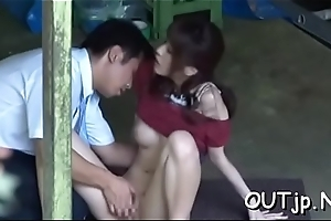 Busty lady getting stuffed hardcore style by a dude