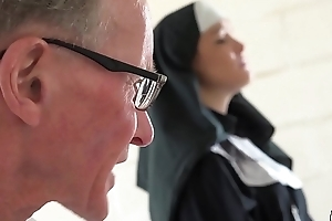 Sexy young nun has sex for the first seniority with a older man here the confessional